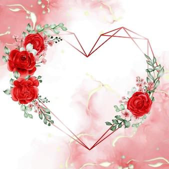 Геометрическая форма любви с красивой розой свободы и красной рамкой