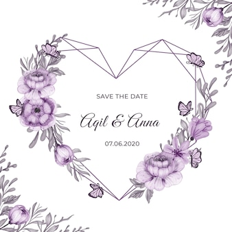 Geometric love shape with beautiful purple flower frame