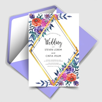 Geometric lovely watercolor floral wedding invitation