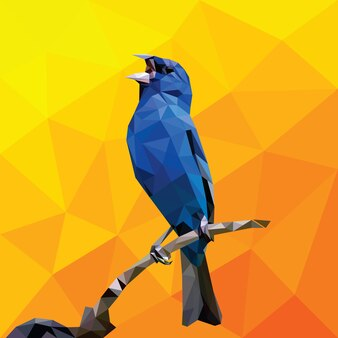 Geometric Low Polygonal Bird Singing Vector Template