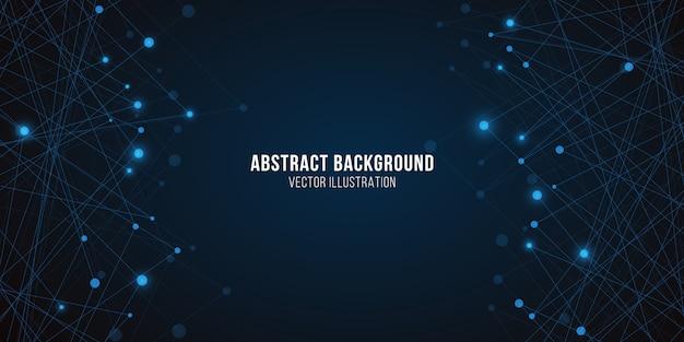幾何学的な明るい神経叢。抽象的な未来的な背景。青い光る分子構造