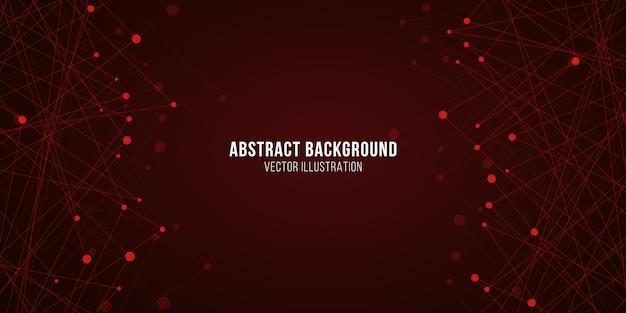 幾何学的な明るい神経叢。抽象的な未来的な背景。赤い光る分子構造。