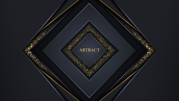 Geometric luxury abstract background dark color and gold line sparkles glitters