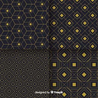 Geometric luxury black and golden pattern collection