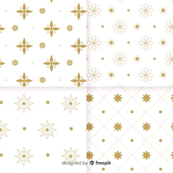 Geometric luxury white and golden pattern collection