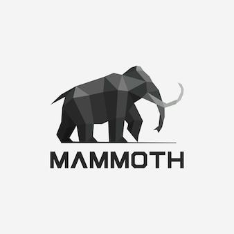 Geometric mammoth logo design template
