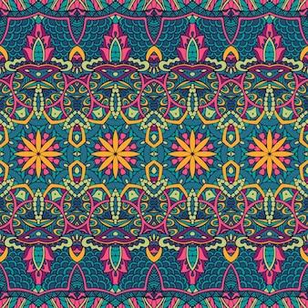 幾何学的な曼荼羅アートカラフルなシームレスパターン装飾。