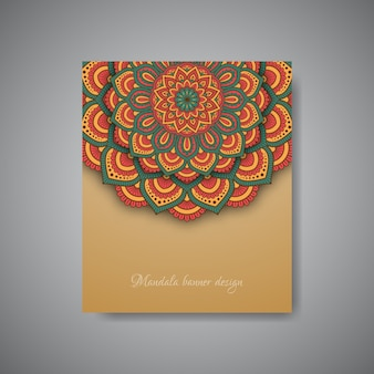 Geometric mandala flower banner background.