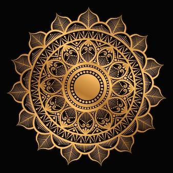 Geometric mandala in golden color