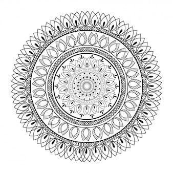 Geometric mandala pattern design in line art.
