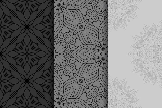 Набор геометрических мандалы бесшовные модели