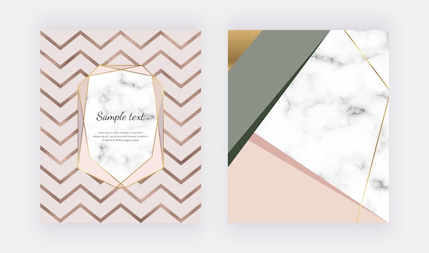 Geometric marble design with foil texture, triangular shapes.