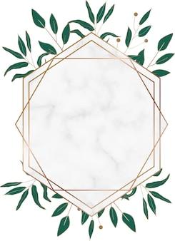 緑の葉と幾何学的な大理石のフレーム