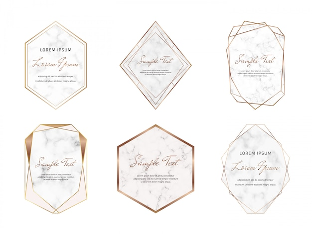 Geometric marble frames with golden lines.