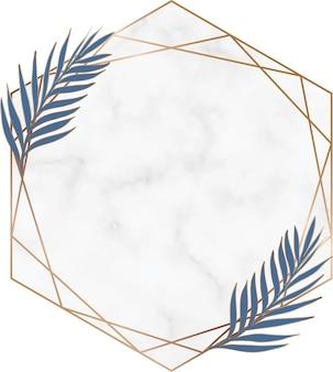 Geometric marble hand drawn botanical frame
