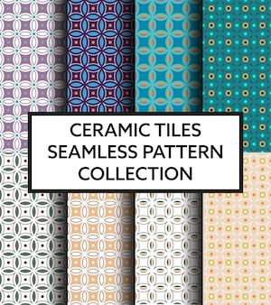 Geometric mediterranean ceramic tiles pattern collection