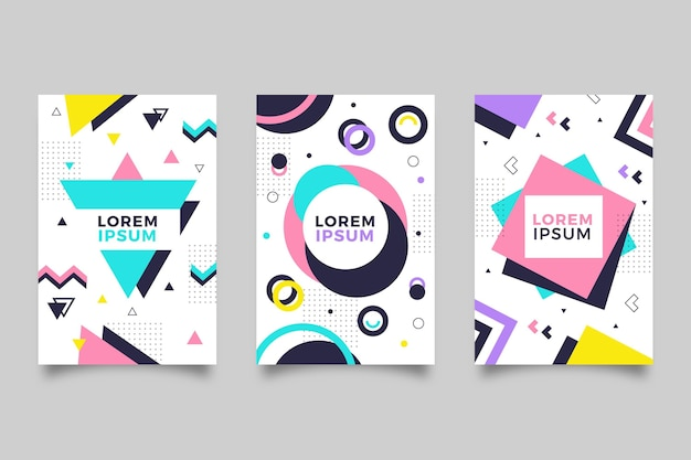 Geometric memphis design cover pack
