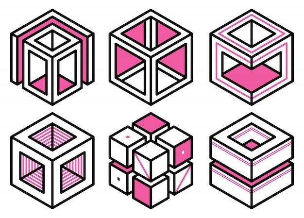 Geometric memphis design elements  collection