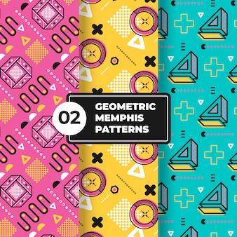 Collezione di motivi geometrici memphis