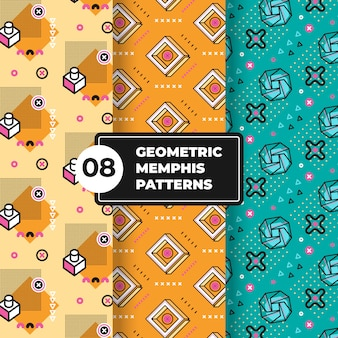 Geometric memphis pattern collection