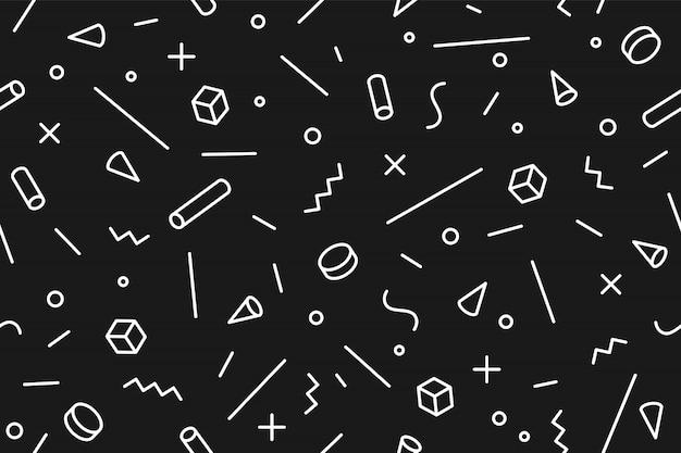 幾何学的なメンフィスパターン。シームレスなグラフィックパターンのトレンディなスタイル