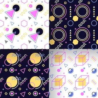 幾何学的なメンフィスのシームレスパターンコレクション