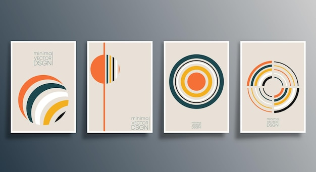 チラシ、ポスター、パンフレットの表紙、背景、壁紙、タイポグラフィ、またはその他の印刷製品用の幾何学的な最小限のデザインセット。ベクトルイラスト。