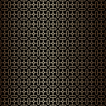 Geometric minimal golden and black linear seamless pattern background, art deco style
