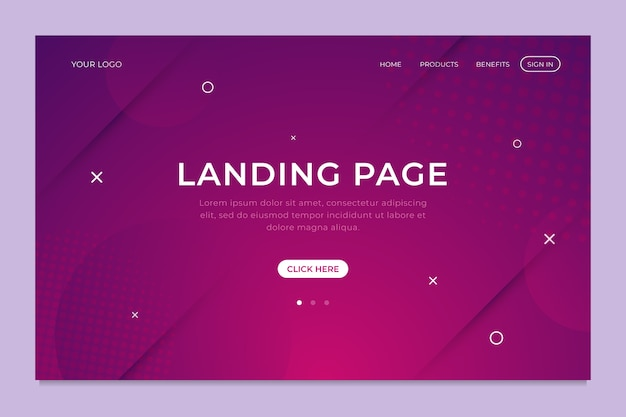 Geometric minimal landing page template