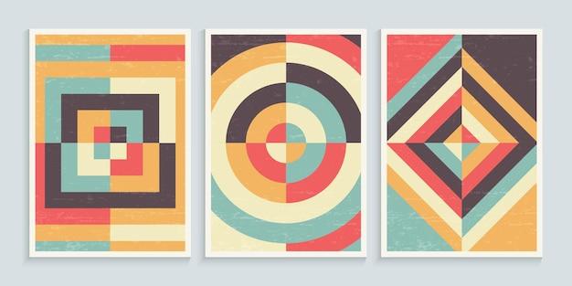 Geometric minimalist art posters in vintage colors