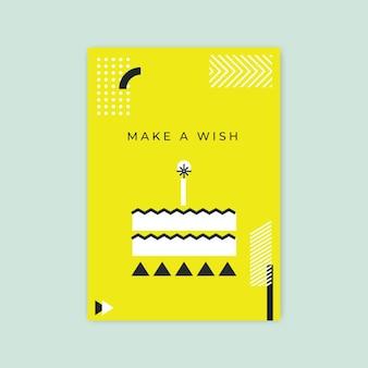 Modello di carta di compleanno minimalista geometrico