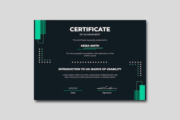 幾何学的なミニマリストビジネス証明書
