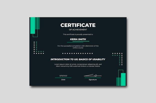 Certificati aziendali minimalisti geometrici