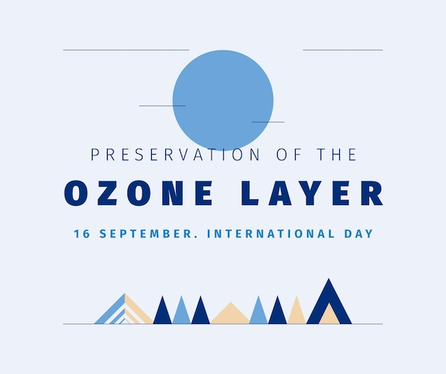 Geometric minimalist preservation of the ozone layer day facebook post