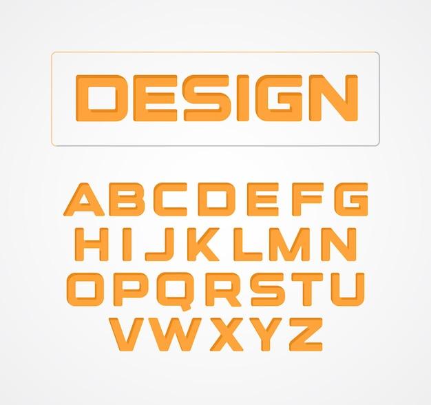 幾何学的なミニマリストの技術デザインフォント。アルファベット記号、コレクション。オレンジ色の定型化された文字セット。