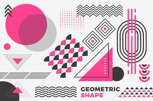 Geometric models background in flat design