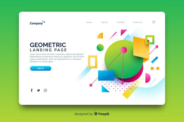 Geometric models landing page template
