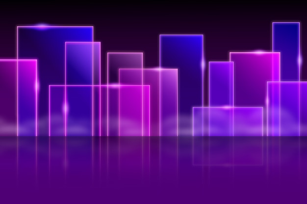Geometric models neon lights background
