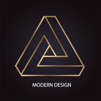 Geometric modern abstract design with luxury golden penrose triangle on black background