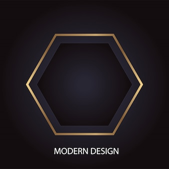 Geometric modern abstract luxury design with golden hexagon on black background