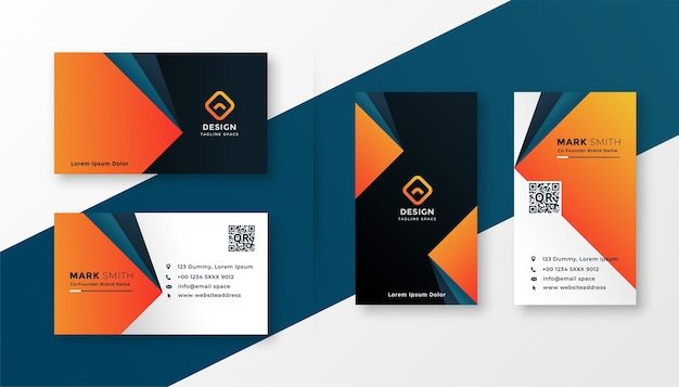 Geometric modern business card design in orange theme