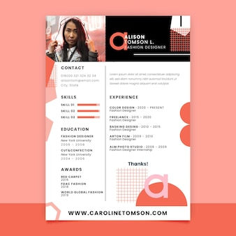 Geometric monocolor fashion resume