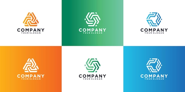 Коллекция логотипов с геометрической монограммой, логотипы могут быть использованы для бизнеса, брендинга, айдентики, корпорации, компании.