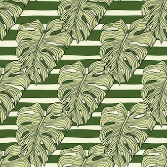 Geometric monstera leaf seamless pattern on stripes background