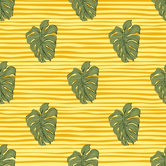 Geometric monstera leaves silhouette seamless pattern on yellow stripes background