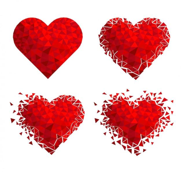 幾何学的なモザイクの心。バレンタイン・デー。キラキラ愛の紙吹雪