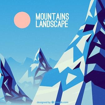 幾何学的な山の冬の背景
