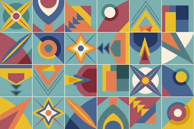 幾何学的な壁画の壁紙イラスト