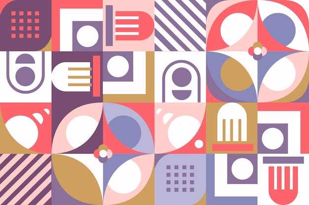 Geometric mural wallpaper with various shapes