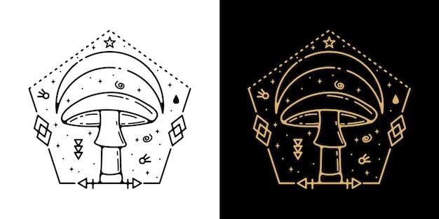 기하학적 버섯 문신 monoline 디자인